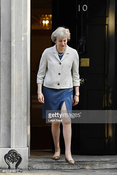 British Prime Minister Theresa May prepares to greet the President of the European Council Donald Tusk in Downing Street on September 8 2016 in...