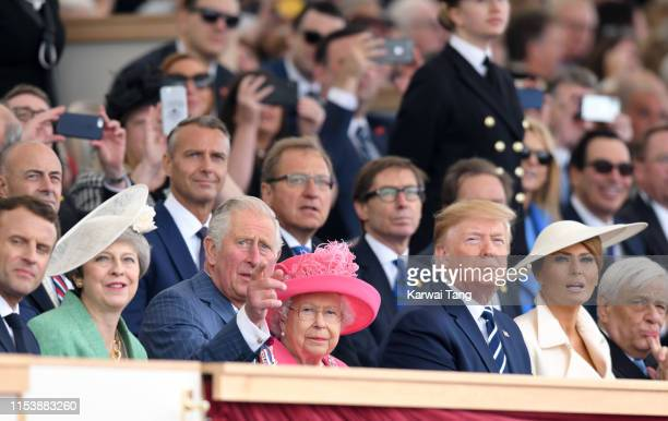 British Prime Minister Theresa May Prince Charles Prince of Wales Queen Elizabeth II US President Donald Trump and US First Lady Melania Trump attend...