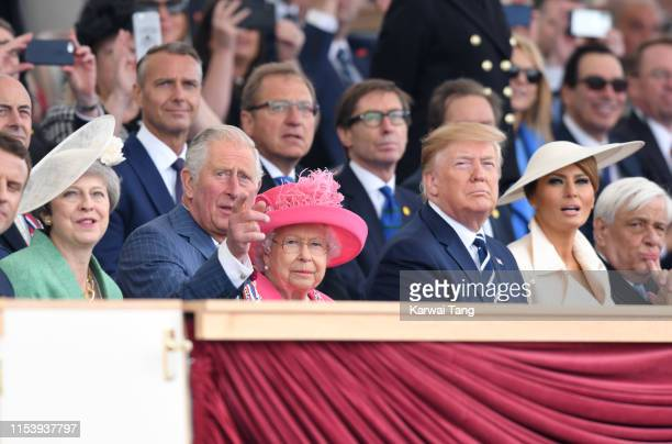 British Prime Minister Theresa May, Prince Charles, Prince of Wales, Queen Elizabeth II, US President Donald Trump and US First Lady Melania Trump...
