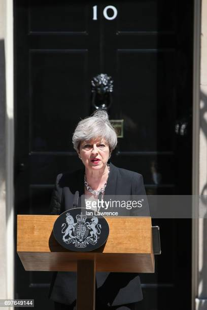 British Prime Minister Theresa May responds to last night's terror attack in Finsbury Park in a speech outside Downing Street on June 19 2017 in...