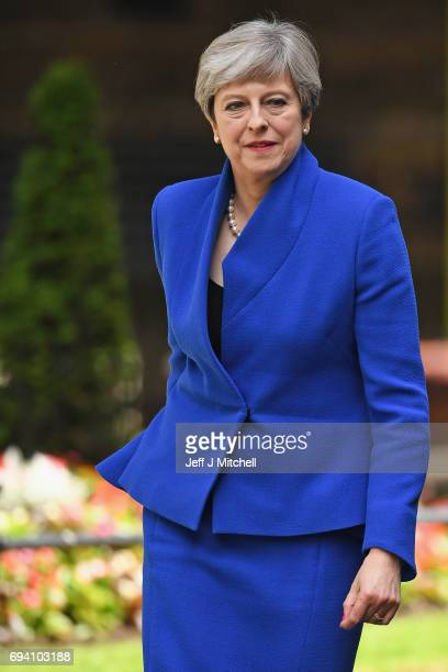 British Prime Minister Theresa May returning from Buckingham Palace outside 10 Downing Street on June 9 2017 in London United Kingdom After a snap...
