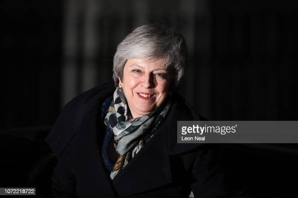 British Prime Minister Theresa May returns to Downing Street after the Confidence Vote in her leadership on December 12 2018 in London England Sir...
