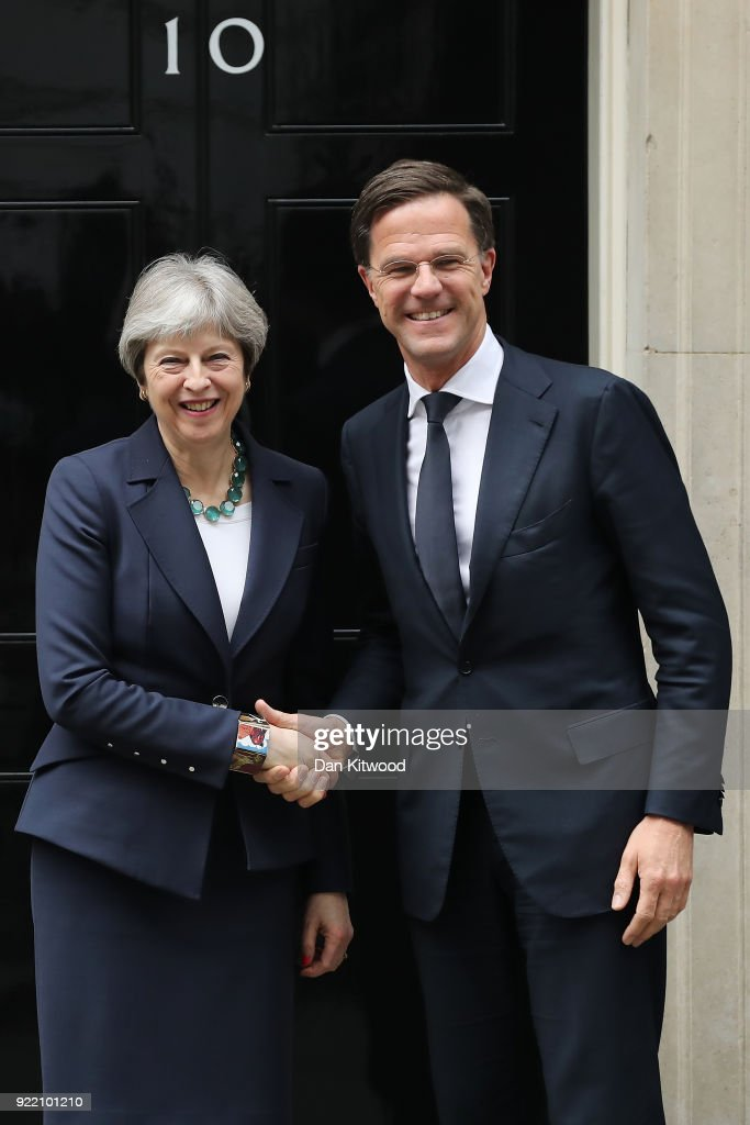 British Prime Minister Theresa May shakes hands with Prime Minister of the Netherlands Mark Rutte outside Downing Street on February 21, 2018 in London, England. The leaders are expected to discuss the progress of Brexit.