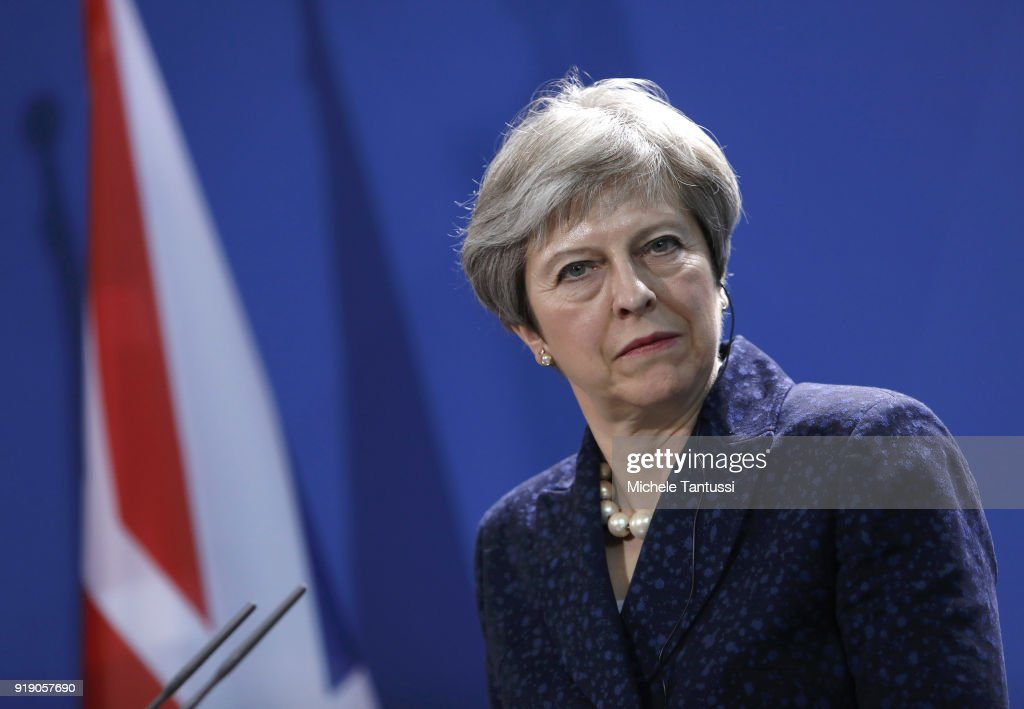 British Prime Minister Theresa May speak to the media following talks between the two leaders at the Chancellery on February 16, 2018 in Berlin, Germany. May is in Germany to attend the Munich Security Conference tomorrow.