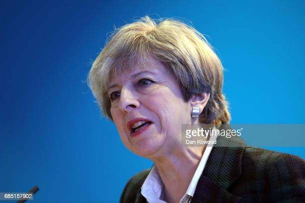 British Prime Minister Theresa May speaks after Scottish Conservative Party leader Ruth Davidson delivered her Scottish manifesto on May 19 2017 in...