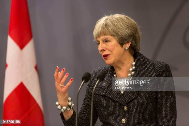 British Prime Minister Theresa May speaks at a joint press conference with Danish Prime Minister a Cristiansborg on April 9, 2018 in Copenhagen,...