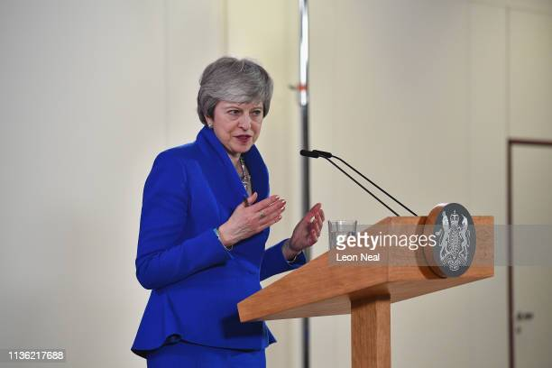 British Prime Minister Theresa May speaks at a news conference at the European Union Council headquarters April 11 2019 in Brussels Belgium After May...