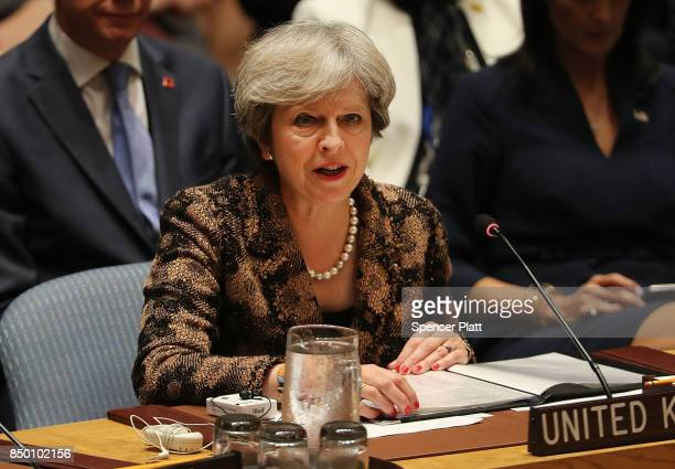 British Prime Minister Theresa May speaks at a Security Council meeting during the 72nd United Nations General Assembly at UN headquarters on...