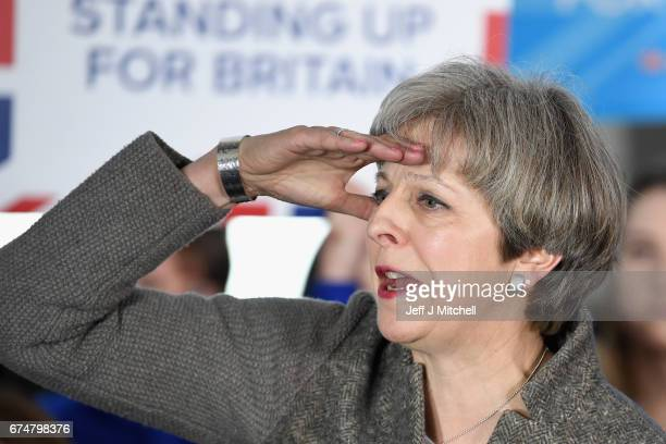 British Prime Minister Theresa May speaks at an election campaign rally on April 29, 2017 in Banchory, Scotland. The Prime Minister is campaigning in...