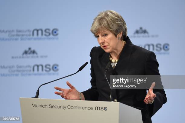 British Prime Minister Theresa May speaks at the 54th Munich Security Conference at Hotel Bayerischer Hof in Munich Germany on February 17 2018 The...