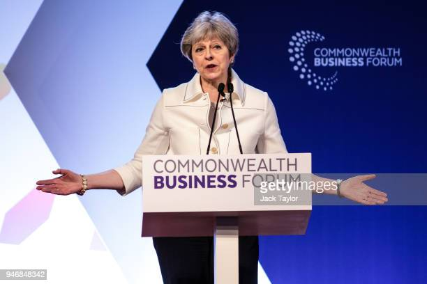 British Prime Minister Theresa May speaks at the Business Forum Opening Session on the first day of the Commonwealth Heads of Government Meeting 2018...