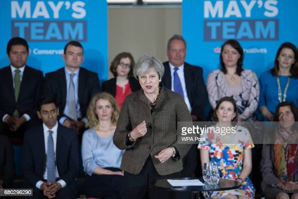 British Prime Minister Theresa May speaks at the Dhamecha Lohana Centre in Harrow on May 8 2017 in London England Theresa May was in Harrow to meet...