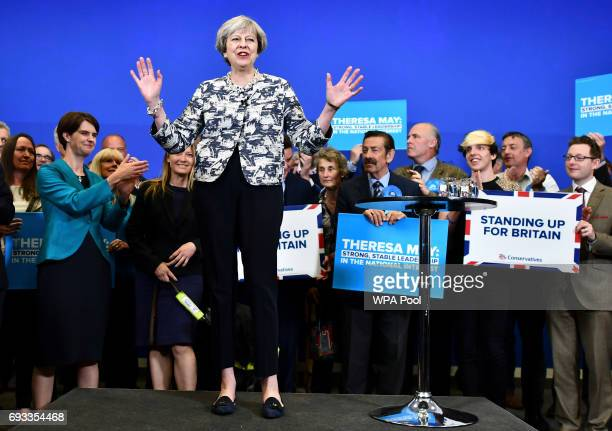 British Prime Minister Theresa May speaks during a Conservative Party general election campaign visit at The Space on June 7 2017 in Norwich United...