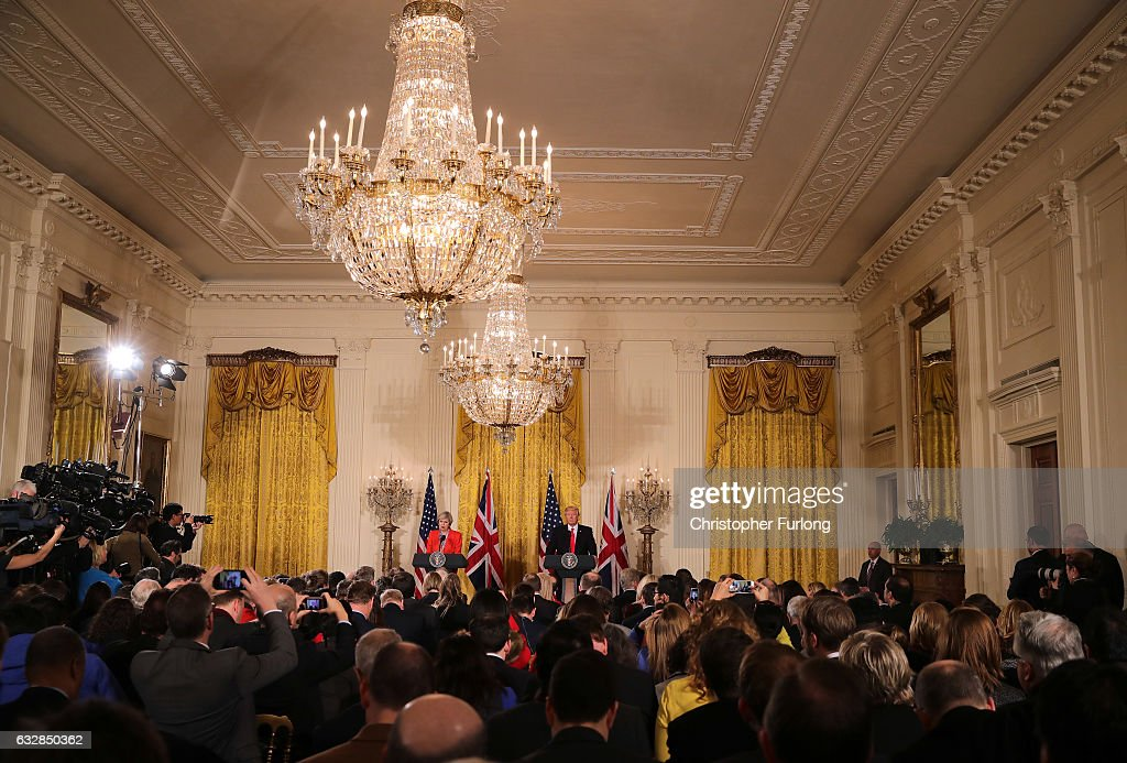 British Prime Minister Theresa May speaks during a joint press conference with U.S. President Donald Trump in The East Room at The White House on January 27, 2017 in Washington, DC. British Prime Minister Theresa May is on a two-day visit to the United States and will be the first world leader to meet with President Donald Trump.