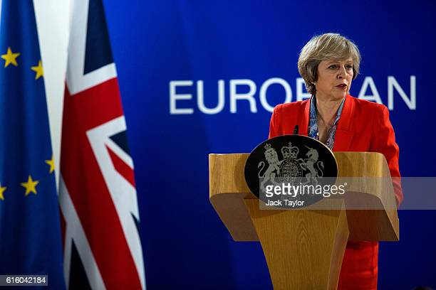 British Prime Minister Theresa May speaks during a press conference at the Council of the European Union on the second day of a two day summit on...