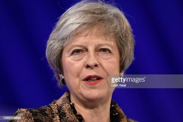 British Prime Minister Theresa May speaks during the 2018 CBI Conference on November 19 2018 in London England Theresa May defended her draft Brexit...