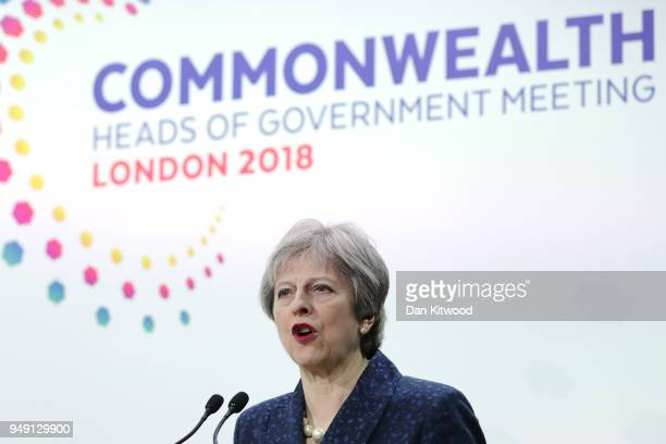 British Prime Minister Theresa May speaks during the final press conference of CHOGM 2018 at Marlborough House on April 20 2018 in London England