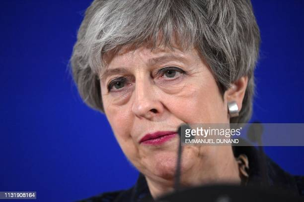 British Prime Minister Theresa May speaks on March 22 on the first day of an EU summit focused on Brexit in Brussels European Union leaders meet in...