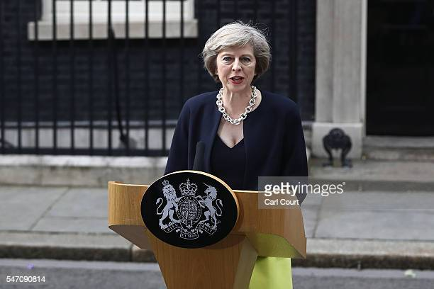 British Prime Minister Theresa May speaks outside 10 Downing Street on July 13 2016 in London England Former Home Secretary Theresa May becomes the...