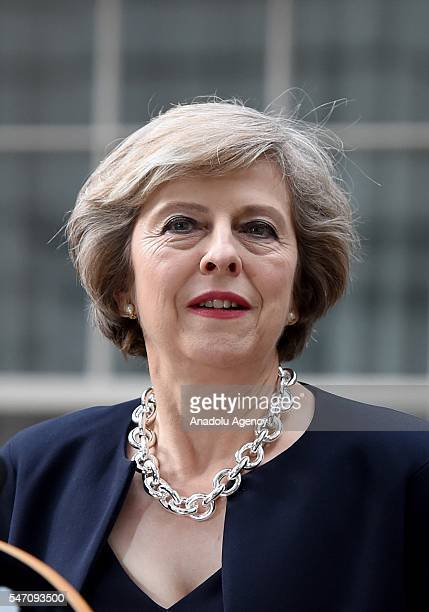 British Prime Minister Theresa May speaks outside the 10 Downing Street in London England on July 13 2016 Former Home Secretary Theresa May becomes...