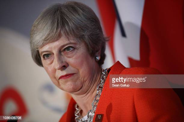 British Prime Minister Theresa May speaks to the media at the conclusion of the summit of leaders of the European Union on September 20 2018 in...