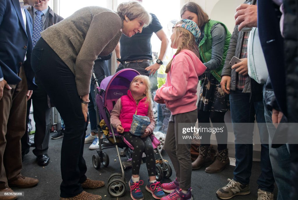 Theresa May Campaigns On The Conservative Battle Bus - Day Two : News Photo