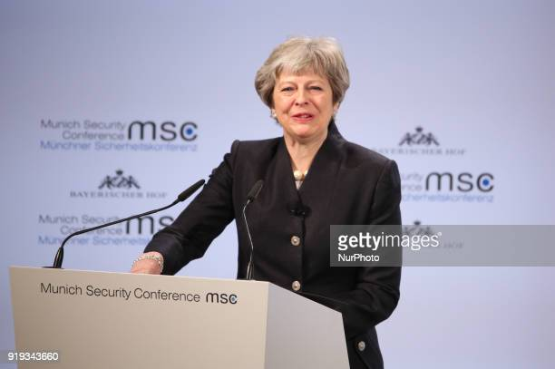 British prime minister Theresa May spoke at the Munich Security Conference