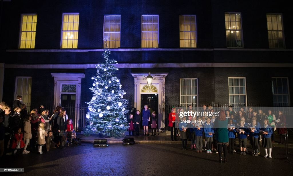 street christmas lights10 pictures embed embedlicense british prime minister theresa may c stands beside children nominated by uk charities and