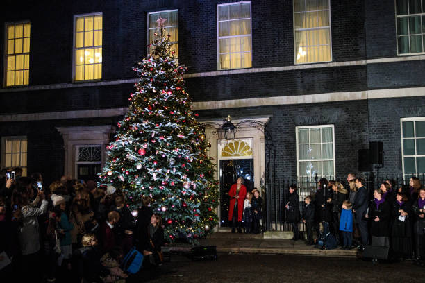 Number 10 Lights Up Its Christmas Tree