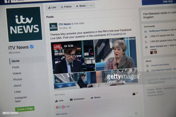 British Prime Minister Theresa May takes part in a Question and Answer session on ITV news via their social media Facebook platform in central London...