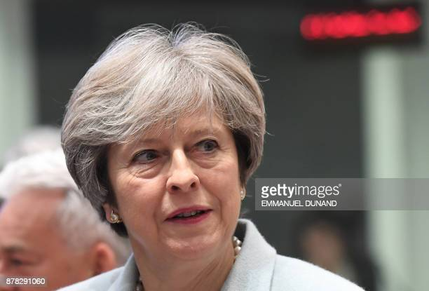 British Prime Minister Theresa May takes part in an EU Eastern Partnership summit with six eastern partner countries at the European Council in...