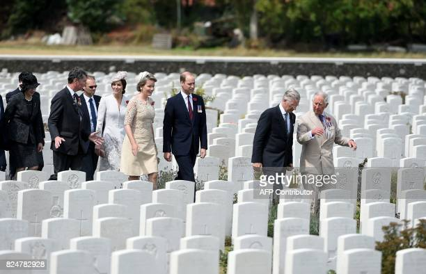 British Prime Minister Theresa May Vice Admiral Sir Timothy Laurence Britain's Princess Catherine Duchess of Cambridge Queen Mathilde of Belgium...