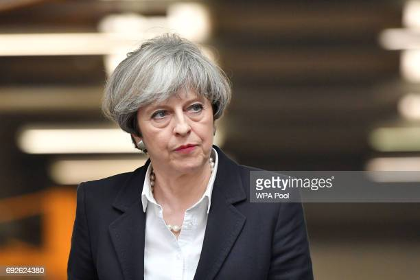 British Prime Minister Theresa May visits a tool factory as the Conservative election campaign resumes on June 5 2017 in Kelso Scotland The political...