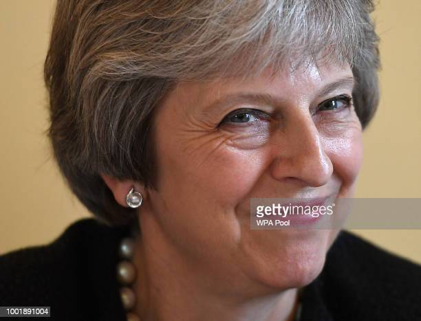 British Prime Minister Theresa May delivers a keynote speech at the Waterfront Hall on July 20 2018 in Belfast Northern Ireland The Prime Minister is...