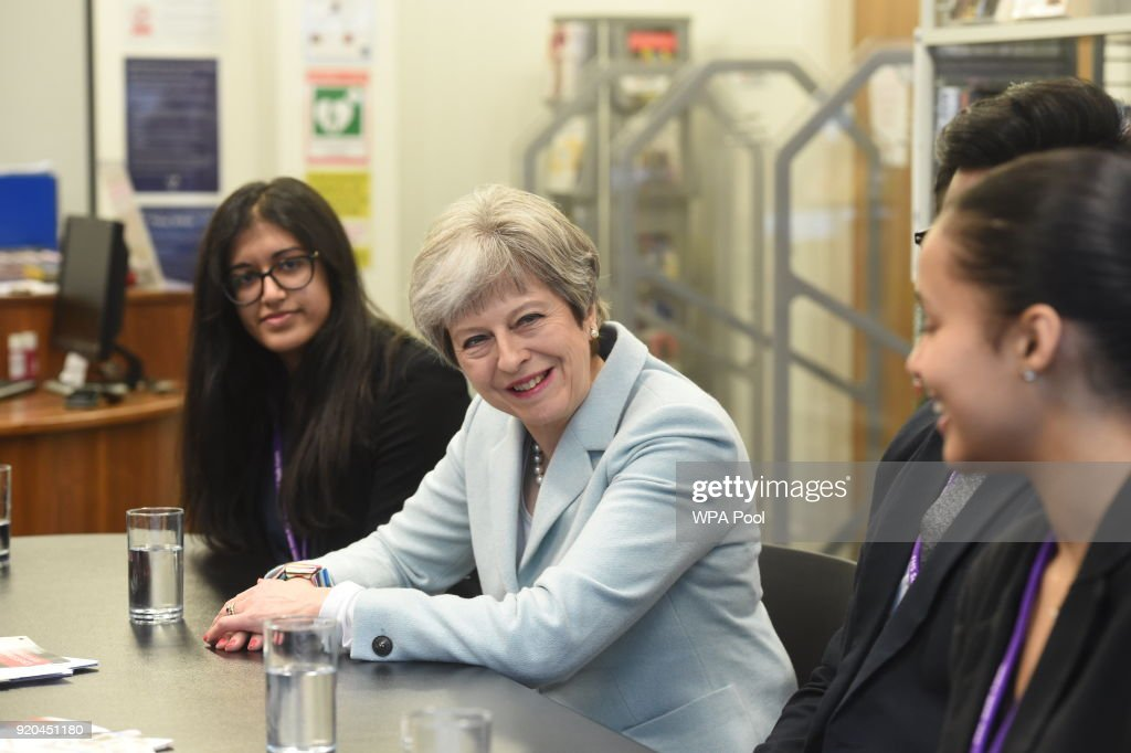 Theresa May Visits Featherstone High School In London