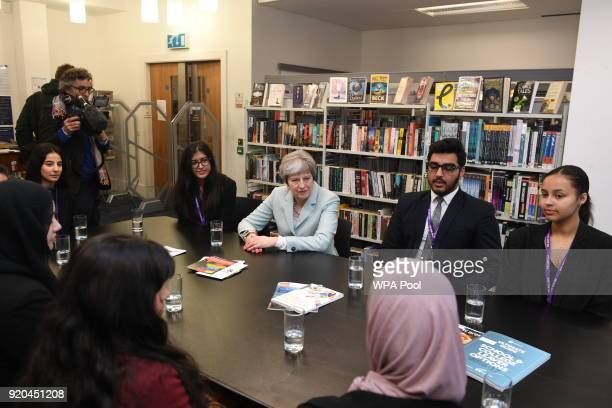 British Prime Minister Theresa May visits Featherstone High School in Southall on February 19 2018 in London England
