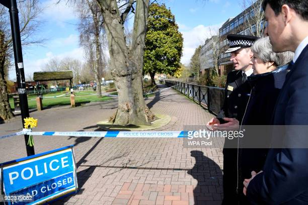 British Prime Minister Theresa May visits the city where former Russian intelligence officer Sergei Skripal and his daughter Yulia were poisoned with...
