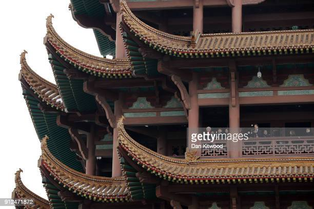 British Prime Minister Theresa May visits the Yellow Crane Tower on January 31 2018 in Wuhan China Mrs May is being accompanied by a business...
