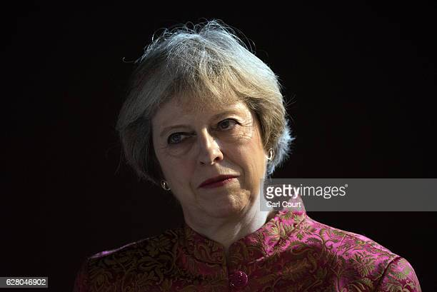 British Prime Minister Theresa May waits to speak at a young leaders reception at Riffa Fort while in Bahrain to attend the Gulf Cooperation Council...