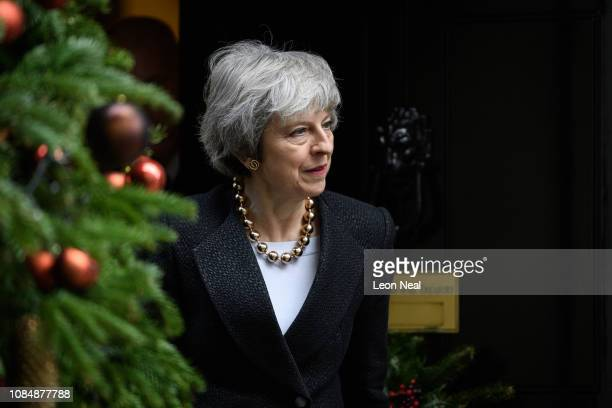 British Prime Minister Theresa May walks from number 10 Downing Street as she prepares to greet her Polish counterpart Mateusz Morawiecki ahead of a...