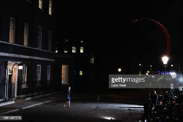 British Prime minister Theresa May walks out of Number 10 to deliver her Brexit statement at Downing Street on November 14 2018 in London England...
