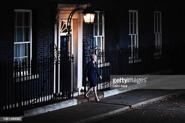 British Prime minister Theresa May walks out of Number 10 to deliver a Brexit statement at Downing Street on November 14 2018 in London England...