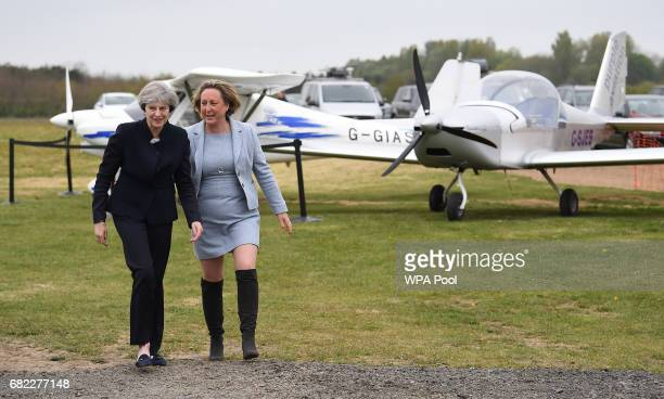 British Prime Minister Theresa May walks with Conservative party candidate for BerwickuponTweed AnneMarie Trevelyan before addressing supporters and...