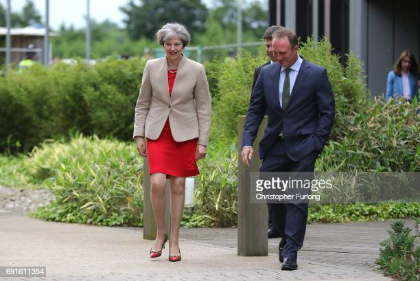 British Prime Minister Theresa May walks with Director of BBC News James Harding as she arrives at York University's Heslington Campus to appear on...