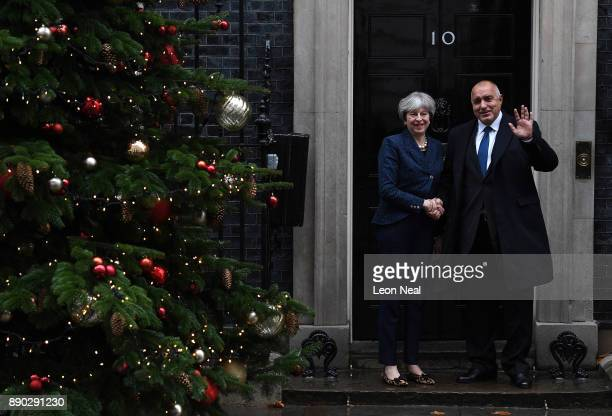 British Prime Minister Theresa May welcomes Bulgarian Prime Minister Boyko Borissov outside 10 Downing Street on December 11 2017 in London England