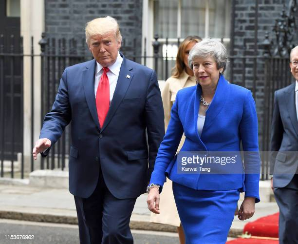 British Prime Minister Theresa May welcomes US President Donald Trump to Number 10 Downing Street during the second day of his state visit on June 04...