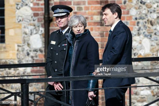 British Prime Minister Theresa May Wiltshire Police's Chief Constable Kier Pritchard and MP for Salisbury and South Wiltshire John Glen visit the...