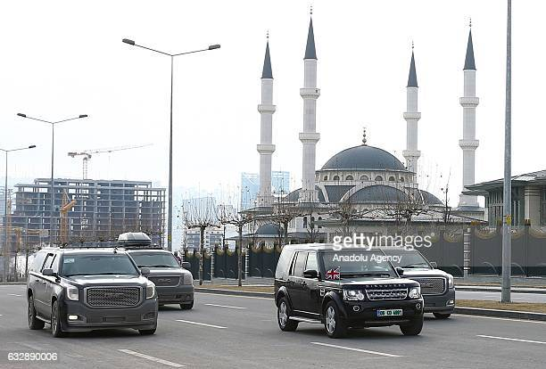 British Prime Minister Theresa May's car arrives at Presidential Complex for the meeting with Turkish President Recep Tayyip Erdogan in Ankara Turkey...
