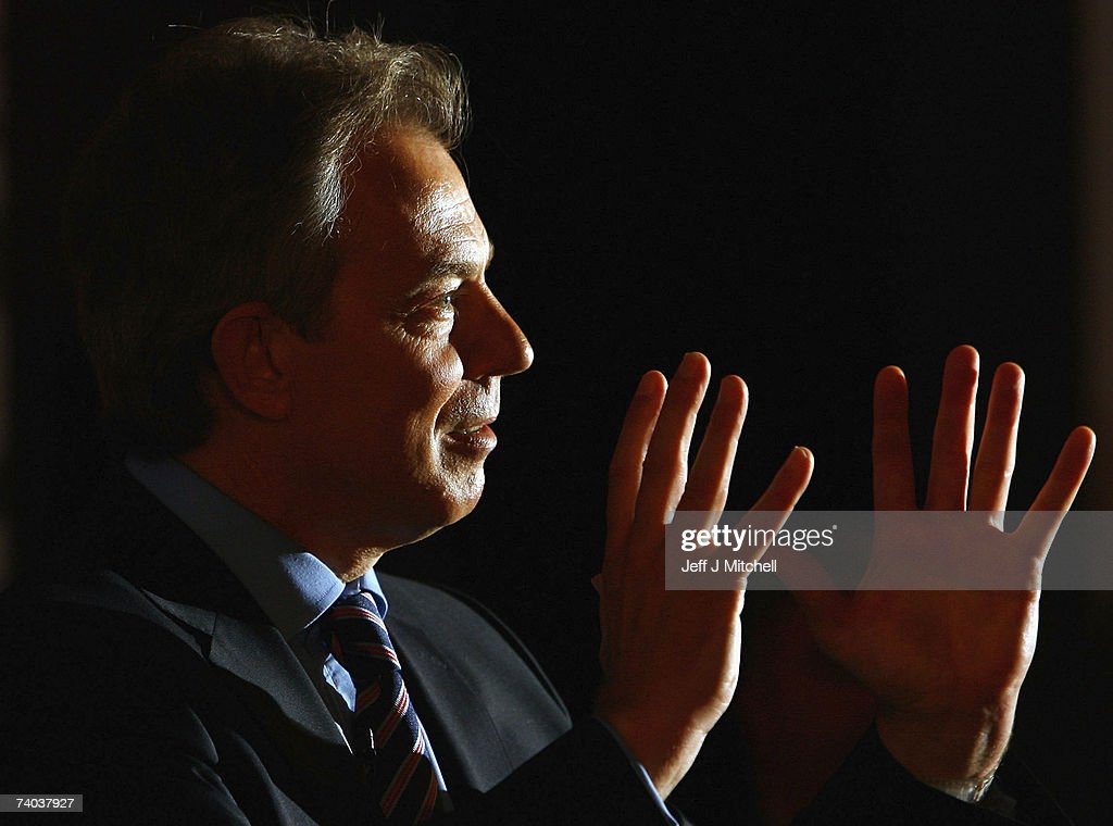 British Prime Minister, Tony Blair addresses a Labour Party Rally on May 1, 2007 in Edinburgh, Scotland. With just day's to go before polling day for the Holyrood election Mr Blair returned to Scotland to give his support to Jack McConnell.