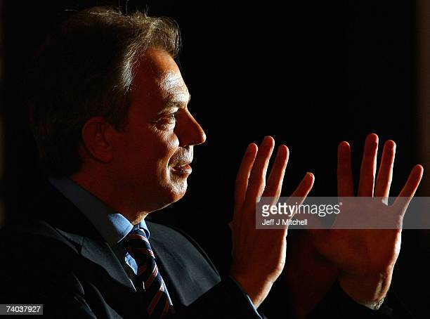 British Prime Minister Tony Blair addresses a Labour Party Rally on May 1 2007 in Edinburgh Scotland With just day's to go before polling day for the...